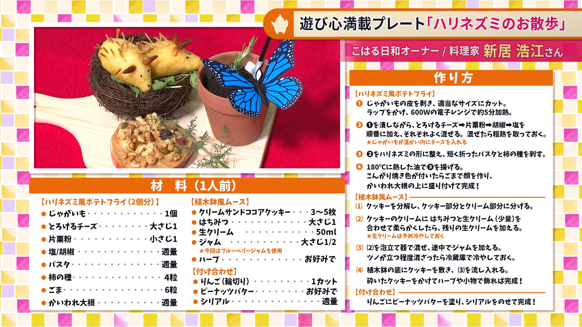たけナビ『ハリネズミのお散歩』レシピ(9/15初回放送)