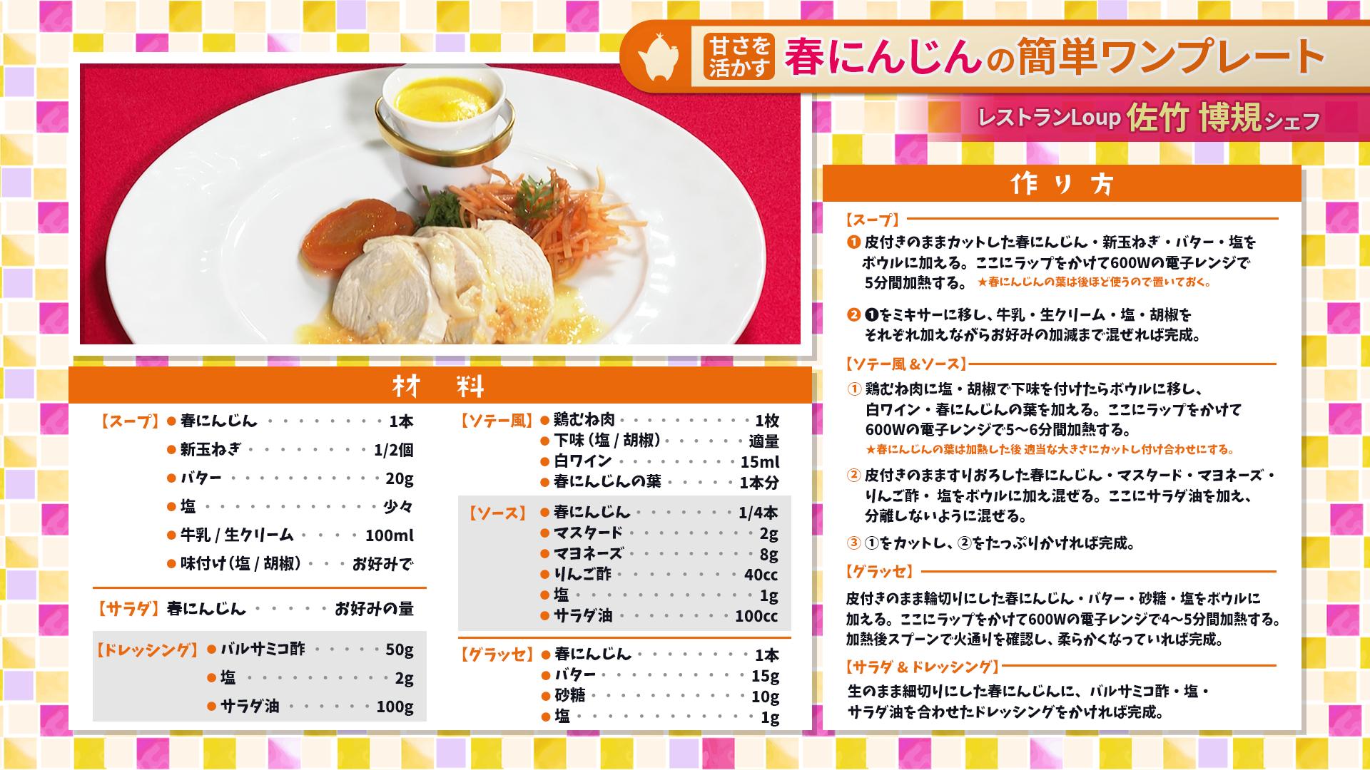 たけナビ『春にんじんの簡単ワンプレート』レシピ(4/13初回放送)
