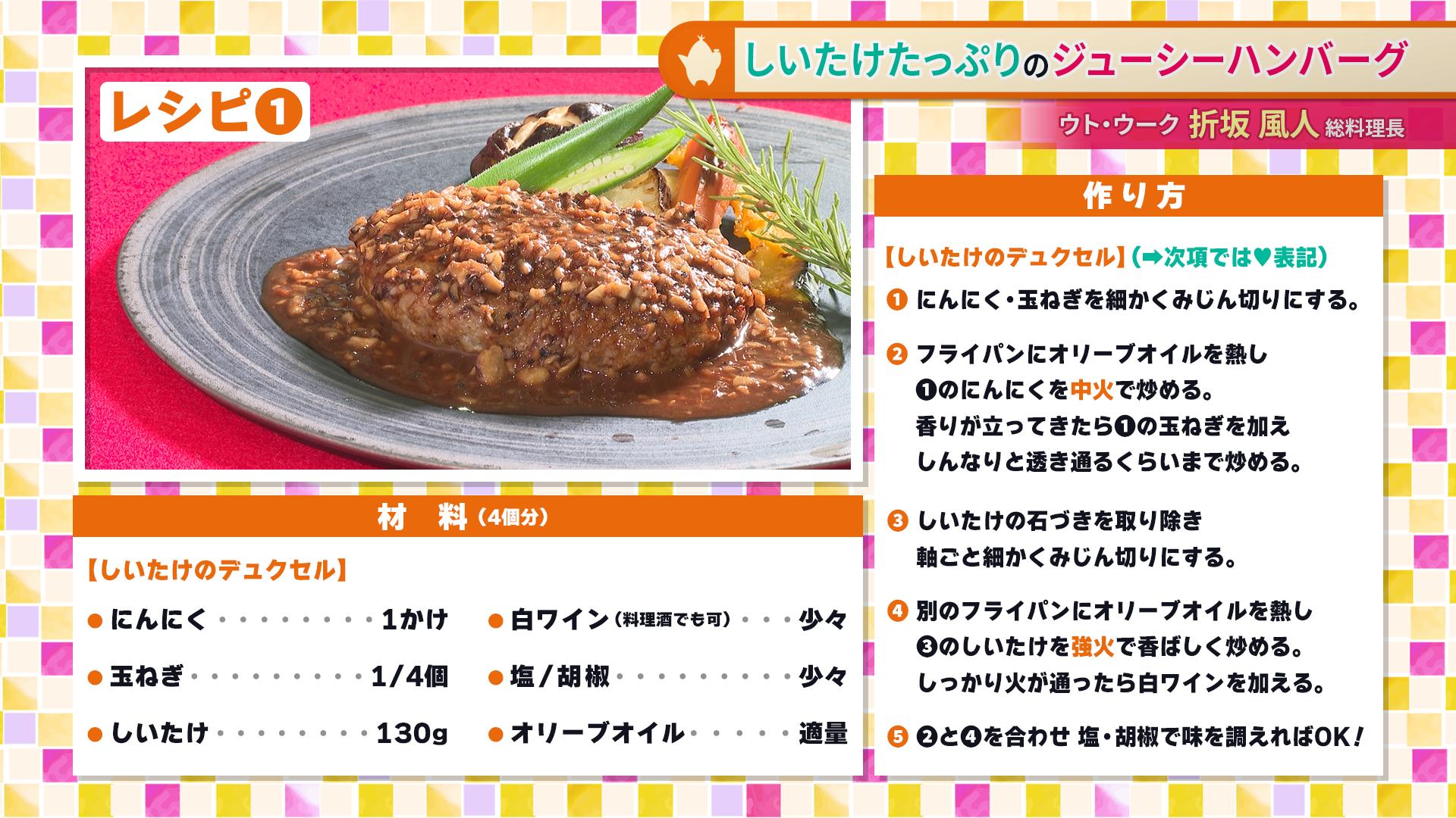 たけナビ『しいたけたっぷりのジューシーハンバーグ』レシピ(9/14初回放送)